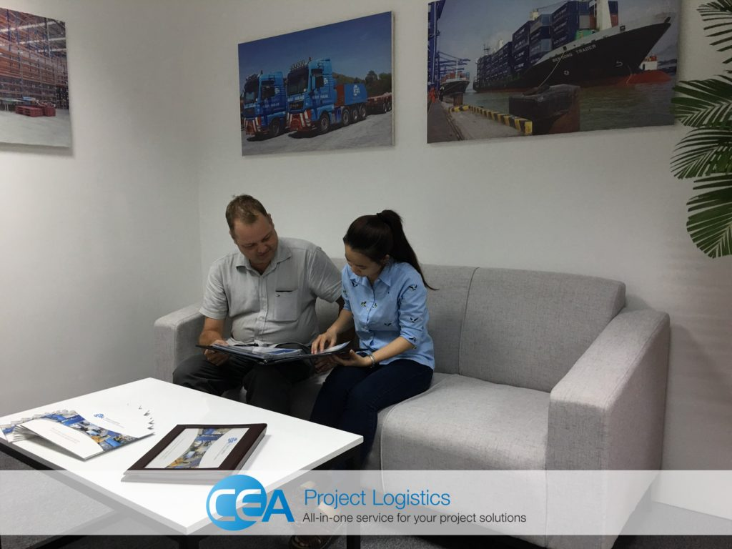 Guests sit in the waiting area of the CEA Projects Vietnam office