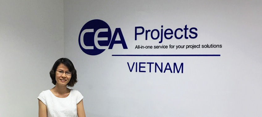 CEA Projects Vietnam Staff stand in the new reception area