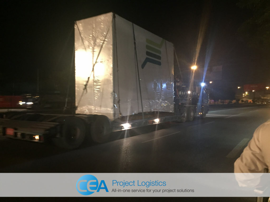 CEA Myanmar Trailers on road with cargo - CEA Project Logistics Myanmar