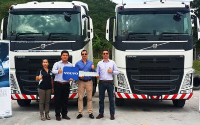 Andy Hall receives new volvo trucks in Laem Chabang - CEA Project Logistics Myanmar