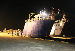 LCT barge docking at Posco-Daewoo Jetty - CEA Project Logistics Myanmar Power Plant demobilisation