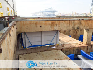 breakbulk cargo secured in ships hull