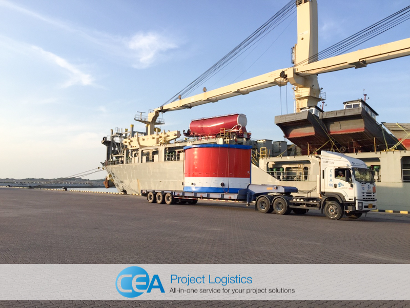 CEA Project Logistics Truck and Trailer arrives on port with breakbulk cargo