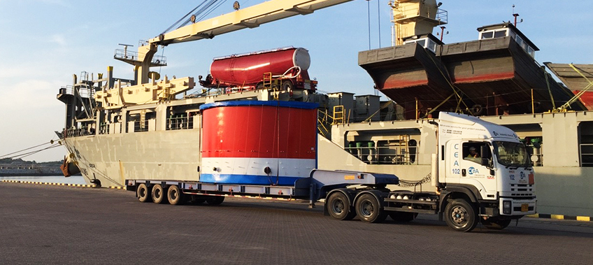A CEA Project Logistics Truck And Trailer arrives at Laem Chabang port with breakbulk cargo