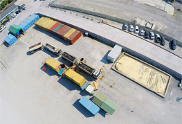 Aerial shot from drone of CEA Project Logistics Bulk loading facility - Agro Logistics