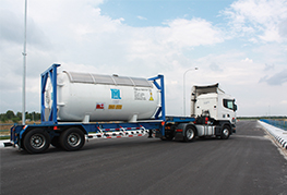 ISO tank being transported by CEA Project Logistics Prime mover Industrial Gas and Liquids