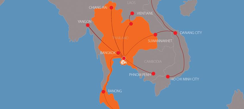 map showing CEA Project Logistics cross border transport services