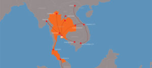 A map of south east asia showing all cross border transport routes for cea project logistics