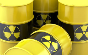 Stock image of hazardous waste barrels