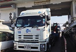 a CEA truck at Mae Sod border crossing Myanmar - cross border transport