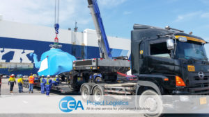 Helicopter being loaded on to trailers - CEA Logistics Specialised transport