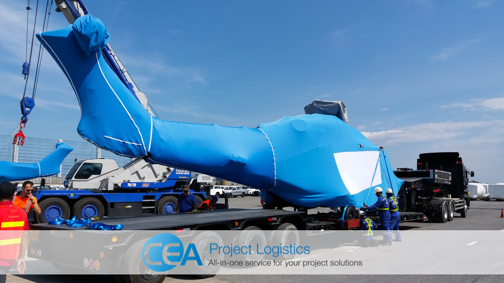 Helicopter on mafi trailer - CEA Logistics Specialised transport