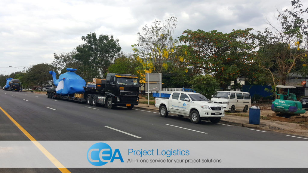 CEA project Logistics Specialised transport - convoy on the road