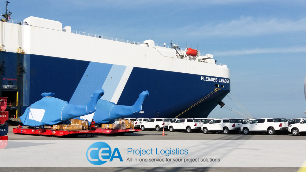 Helicopters unloaded at Laem Chabang port A-5 - CEA Logistics Specialised transport