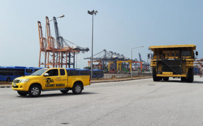 CEA Project Logistics Escort vehicle on port - Free Trade Zone