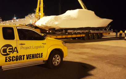 Boat Transportation - CEA Project Logistics - Boat being lifted at LAem Chabang port