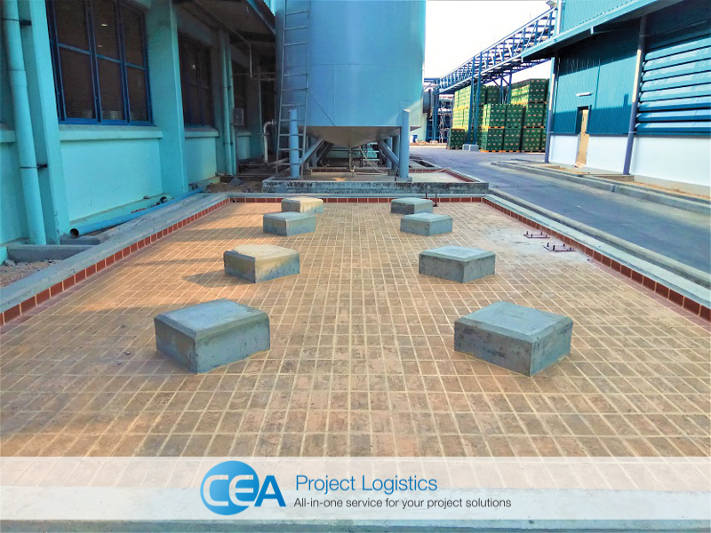 Concrete base ready for installation - cea project logistics