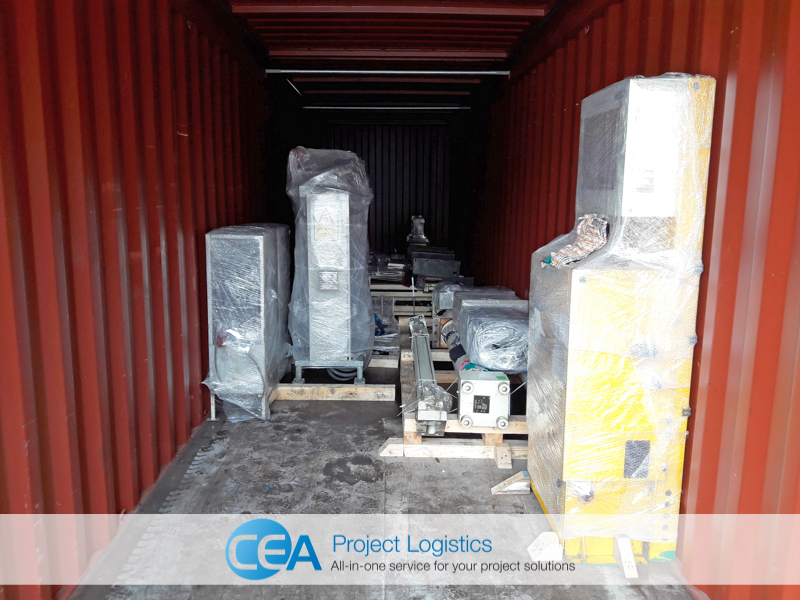 Parts secured in container - CEA Project Logistics Demobilisation