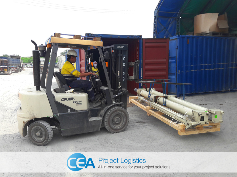 Loading containers - CEA Project Logistics Demobilisation