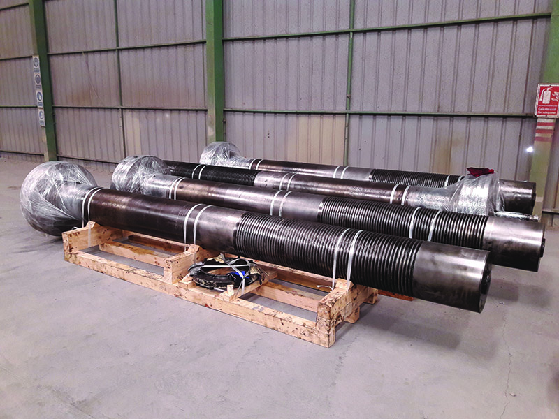 Treated tie-rods in storage after Demobilisation