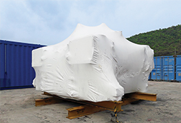 Demobilisation - cargo shrinkwrapped at CEA Facility
