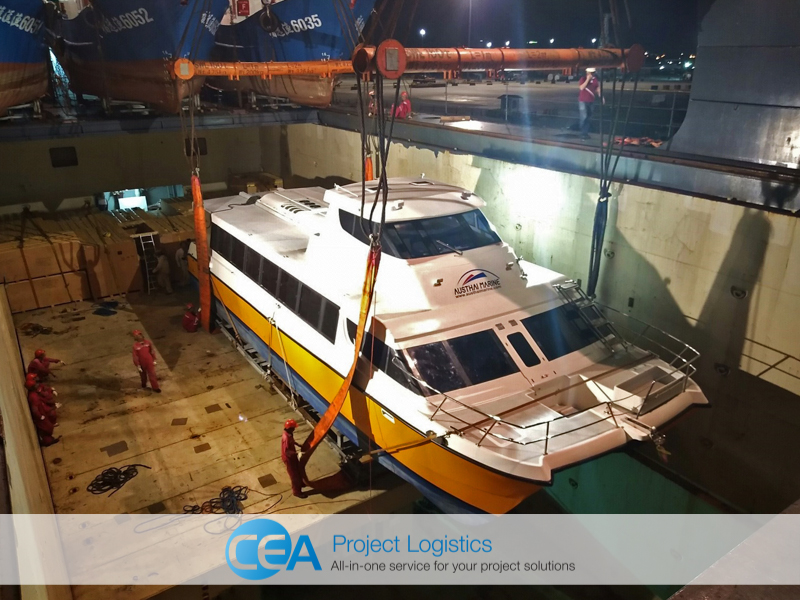 Ferry loading into ships hold - CEA Logistics Transport and export project