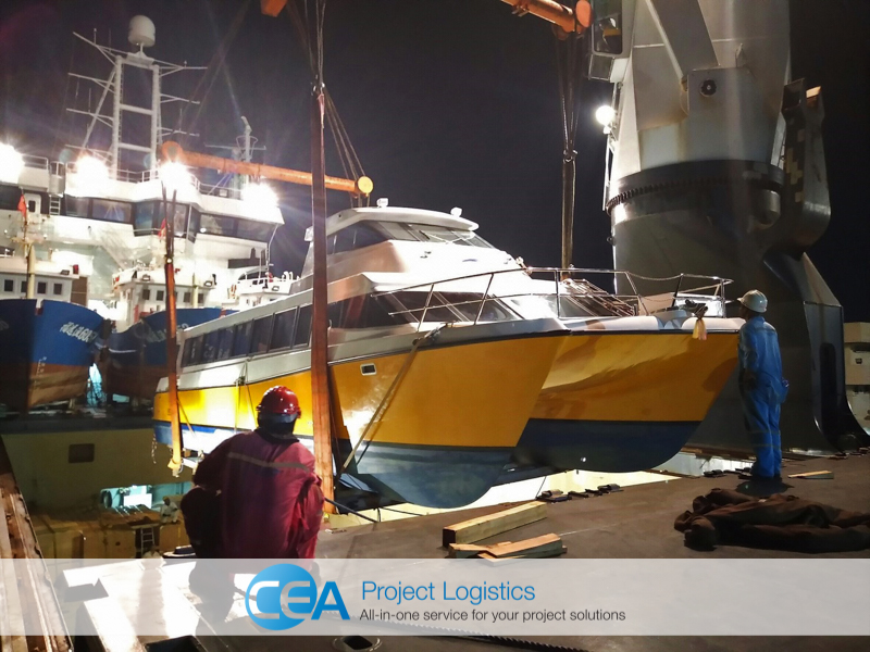 Vessel stevedores oversee the loading - CEA Logistics Transport and export project
