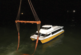 CEA Project Logistics Catamaran Transport - The ferry unloaded and afloat in Sierra Leone