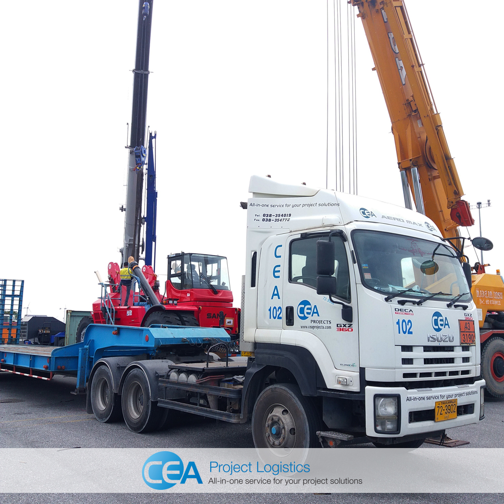 CEA Project Logistics Prime mover and trailer at Laem Chabang Transportation Project