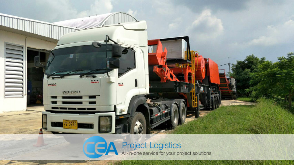 Rock Crusher Transportation - Prime Mover and Cargo leaving the factory