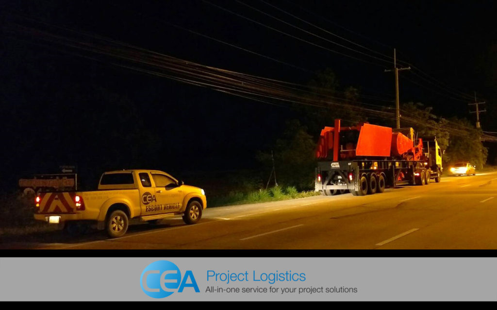 Rock Crusher Transportation - on the road at night