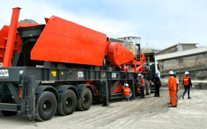 Rock Crusher arrives at Stone quarry after transportation