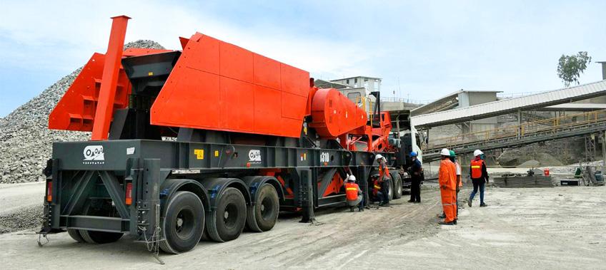Rock Crusher arrives at Stone quarry after transportation